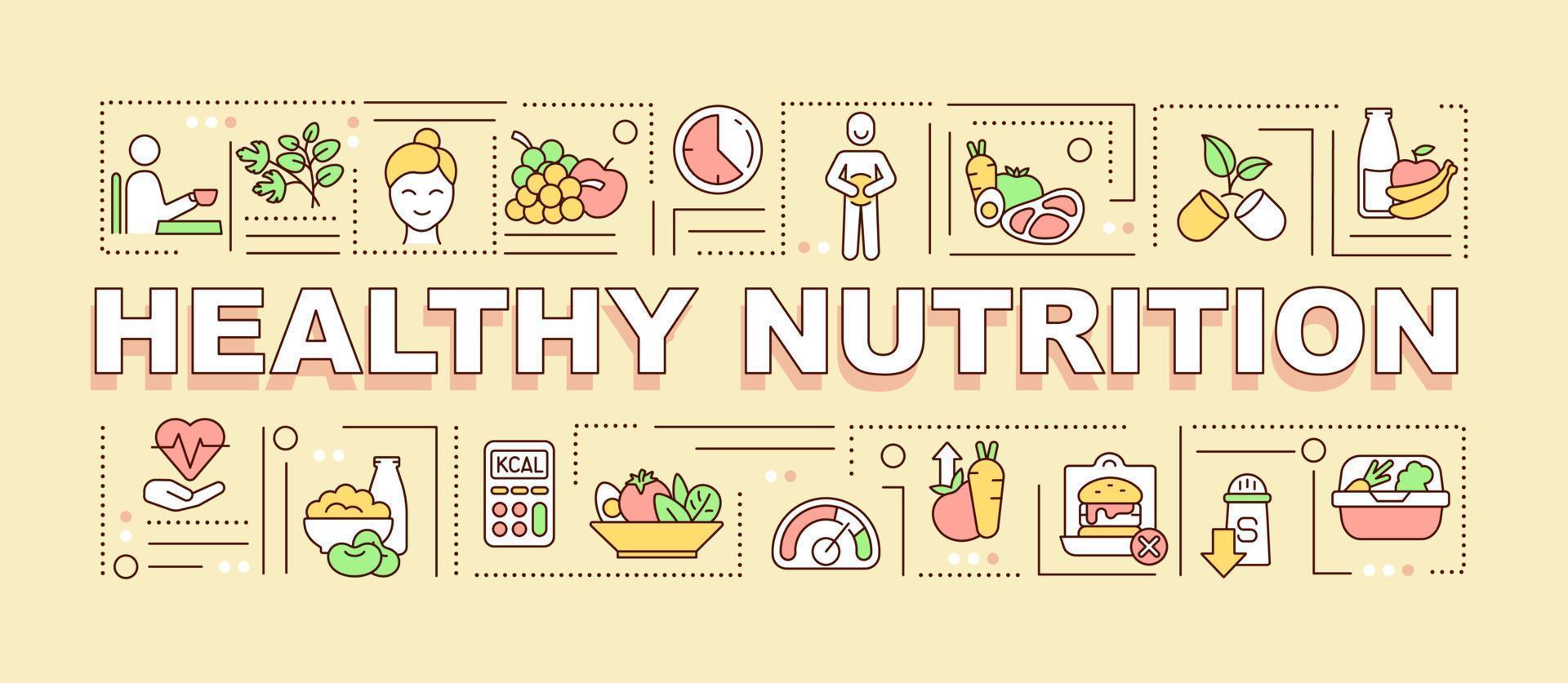 banner de conceitos de palavras de nutrição saudável vetor
