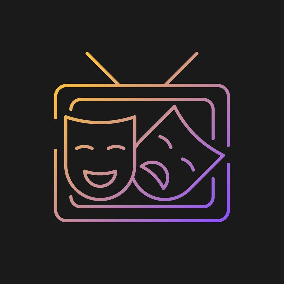 ícone de vetor gradiente tv drama para tema escuro