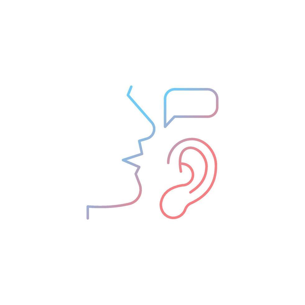 ícone de vetor linear gradiente de escuta ativa