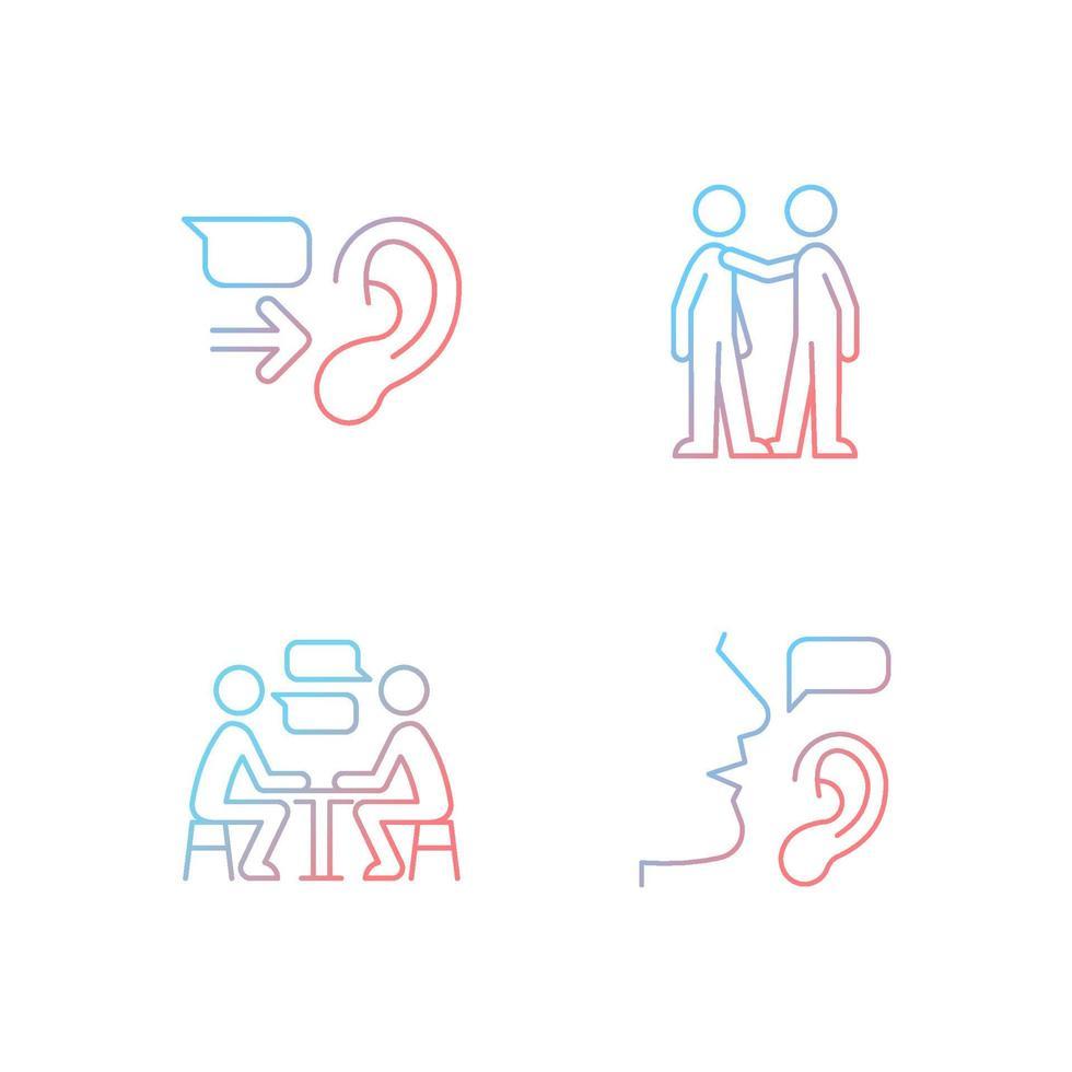 conjunto de ícones de vetor linear gradiente de comunicação verbal e não verbal