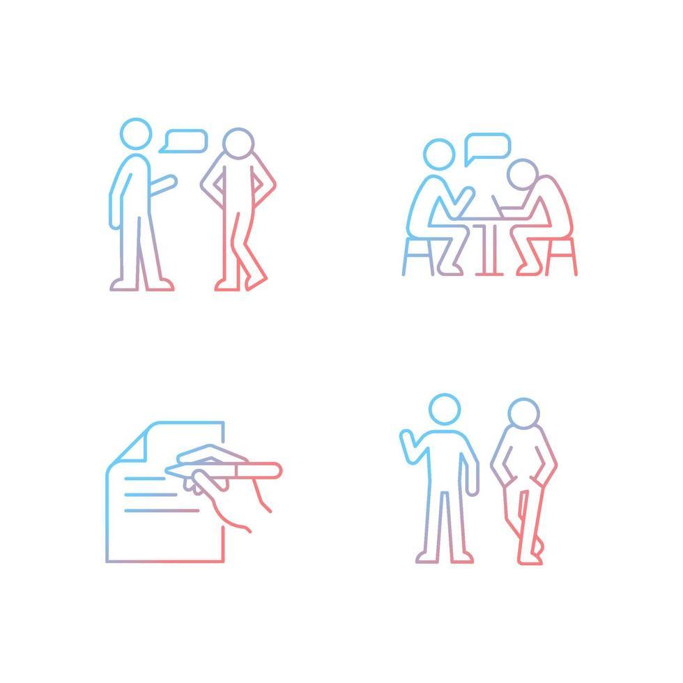 compreensão no conjunto de ícones de vetor linear gradiente de comunicação