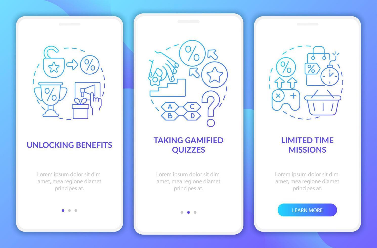 tela da página do aplicativo móvel de integração dos programas de fidelidade gradiente azul vetor