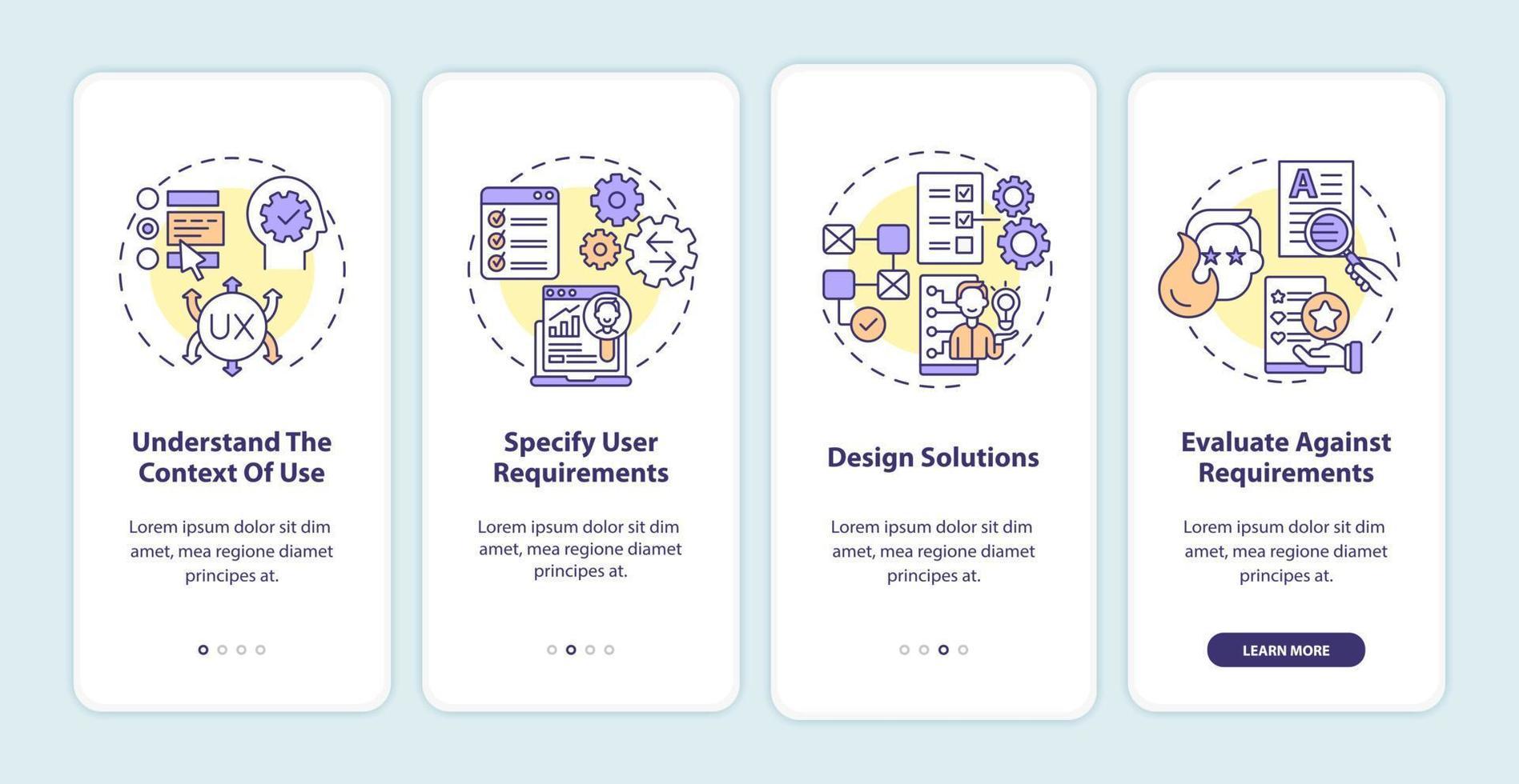 tela da página do aplicativo móvel de integração do processo de trabalho centrado no usuário vetor