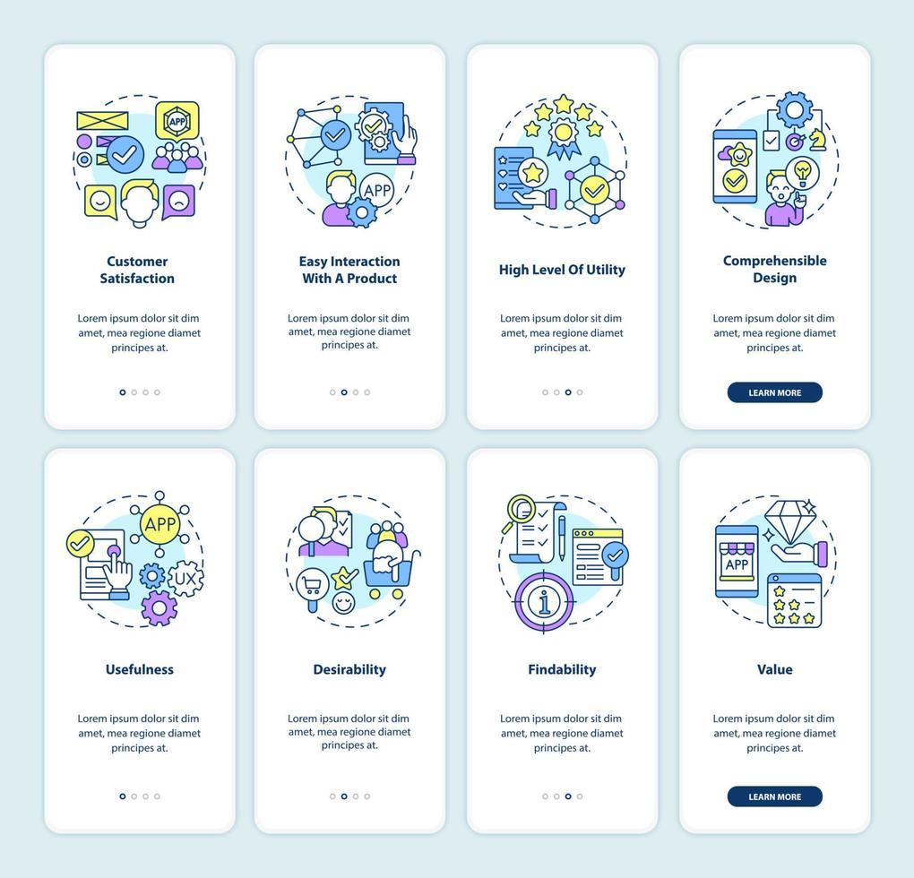 conjunto de telas de páginas de aplicativos para dispositivos móveis de desenvolvimento de produtos vetor