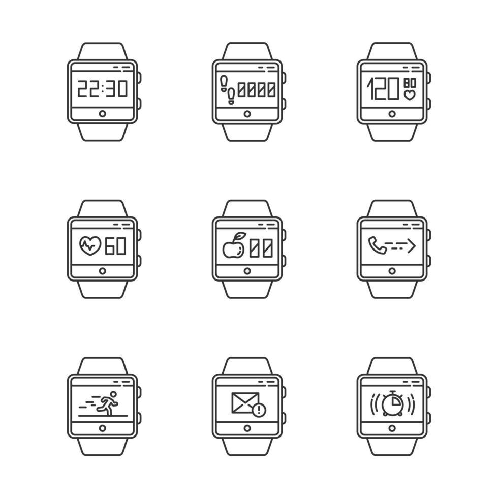 conjunto de ícones lineares de funções de rastreador de fitness vetor