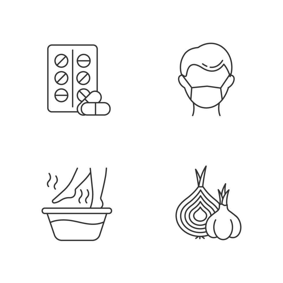 conjunto de ícones lineares de resfriado comum vetor