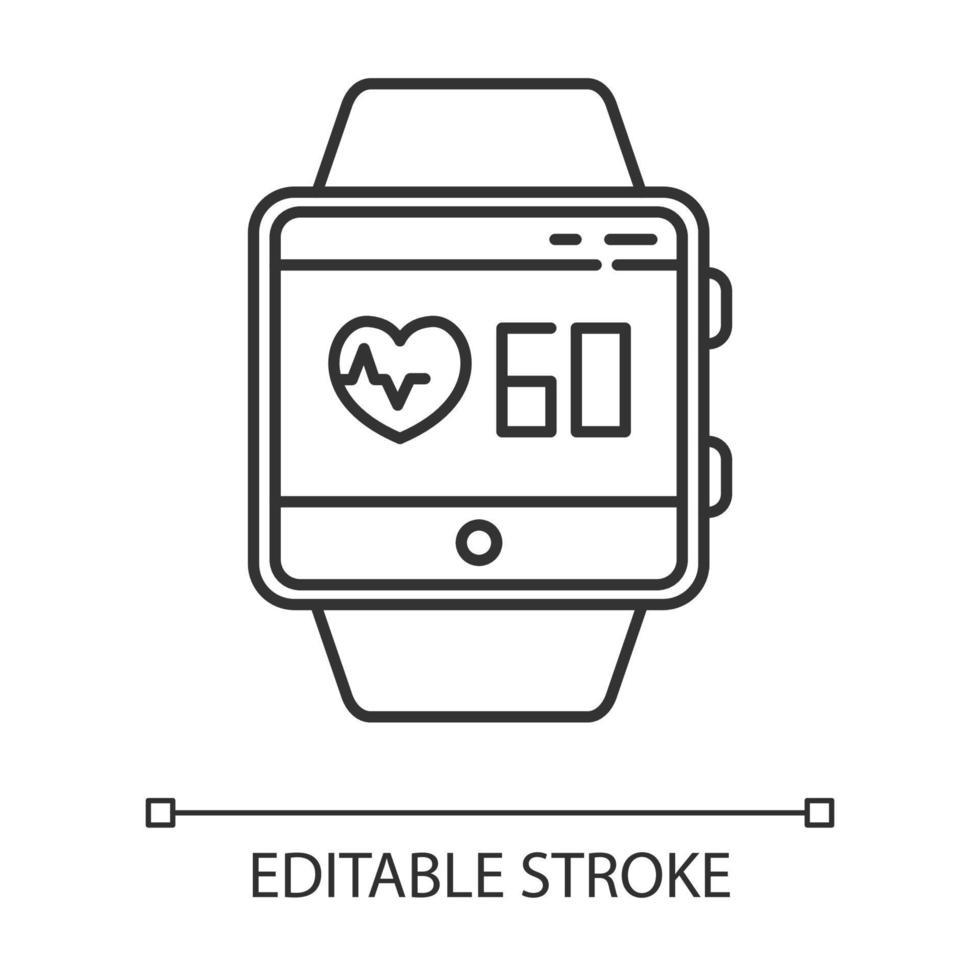 ícone linear da função smartwatch de rastreamento de frequência cardíaca vetor