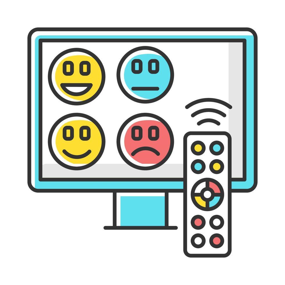 ícone de cor de pesquisa de avaliação de canal de tv vetor