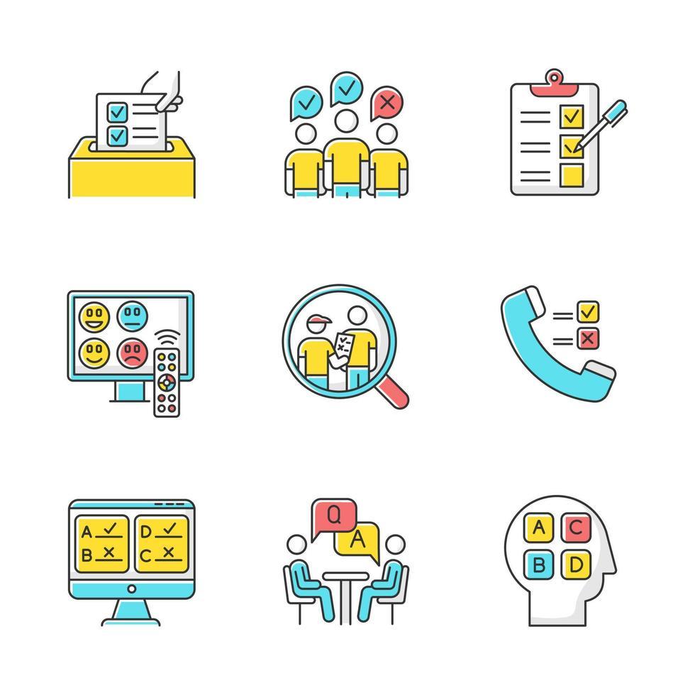 conjunto de ícones de cores de métodos de pesquisa vetor