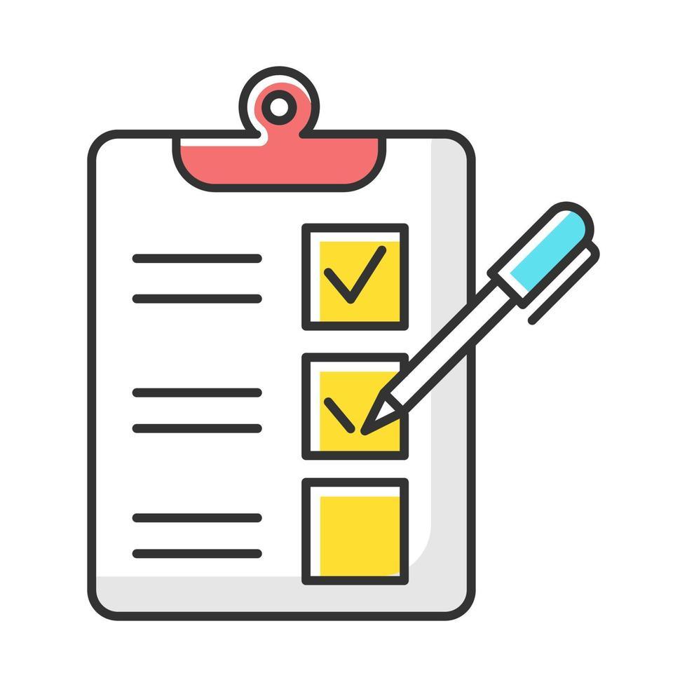 ícone da cor do formulário do questionário da pesquisa vetor
