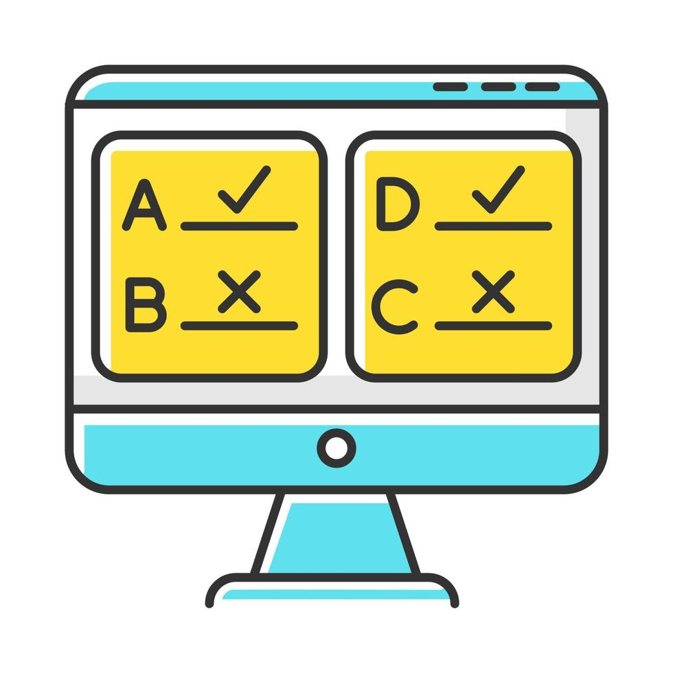 ícone de cor de pesquisa online vetor
