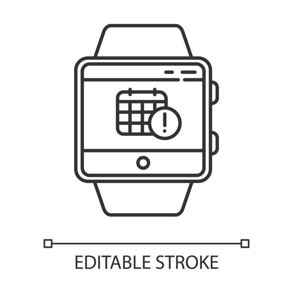 agendamento de eventos ícone linear da função smartwatch vetor