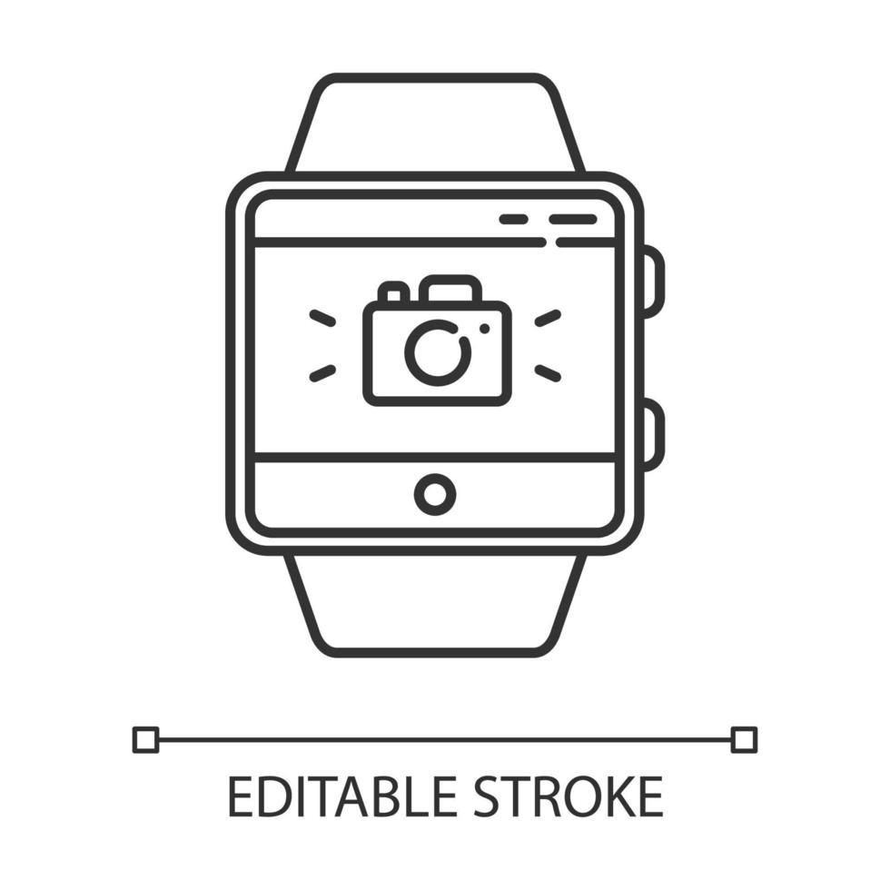 ícone linear da função da pulseira de fitness da câmera vetor