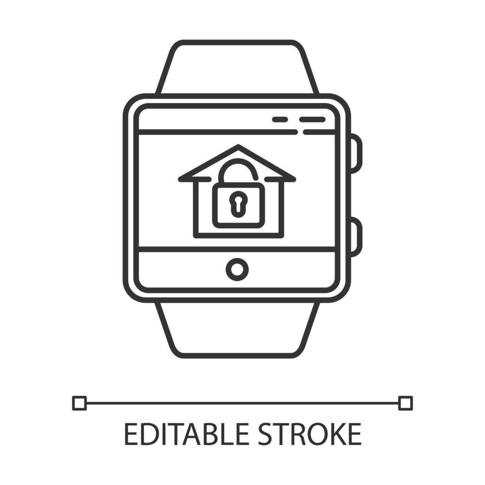 ícone linear da função smartwatch de monitoramento de segurança residencial vetor
