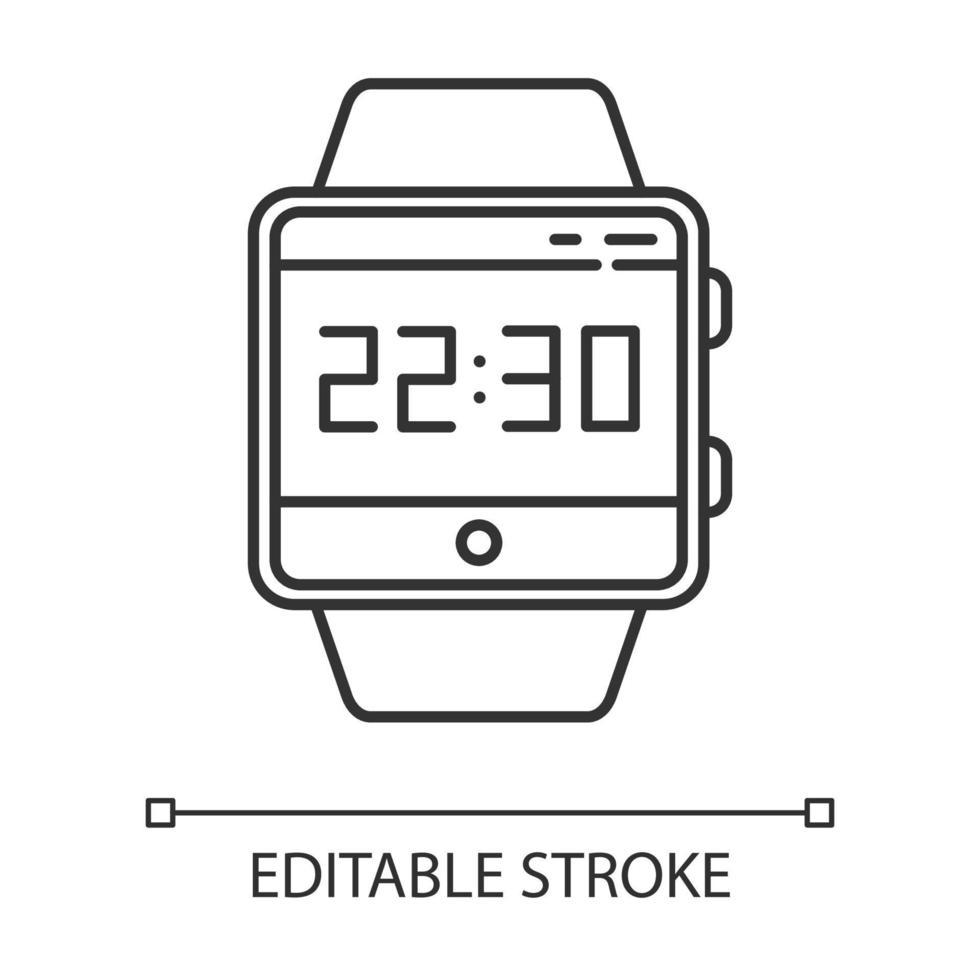 ícone linear da função smartwatch da hora atual vetor