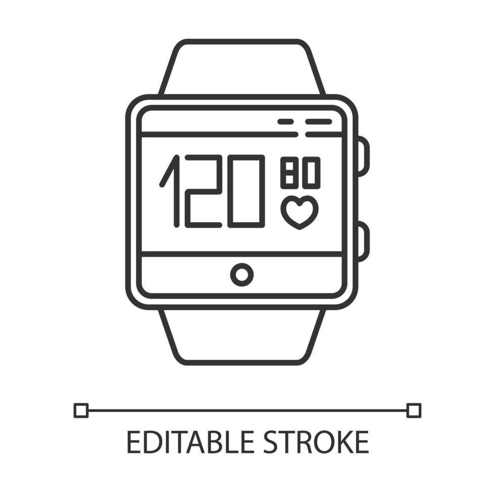 ícone linear da função smartwatch de monitoramento de pressão arterial e frequência cardíaca vetor