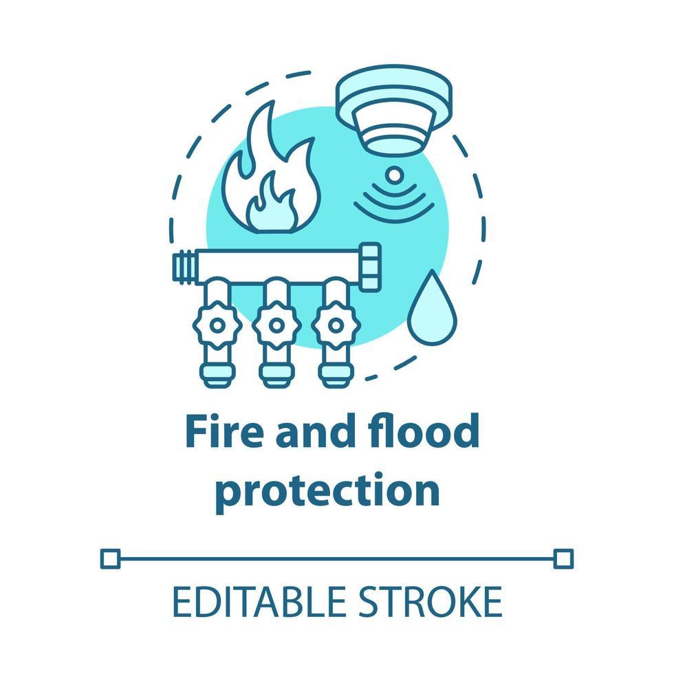 ícone do conceito turquesa de proteção contra incêndio e inundação vetor