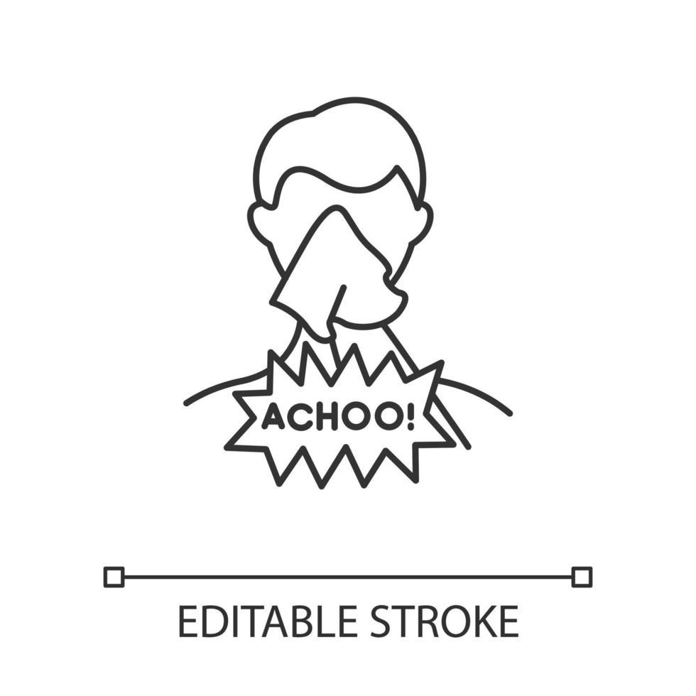 ícone linear de tosse vetor