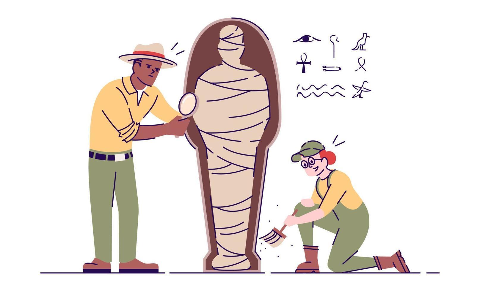 arqueólogos explorando ilustração em vetor plana múmia