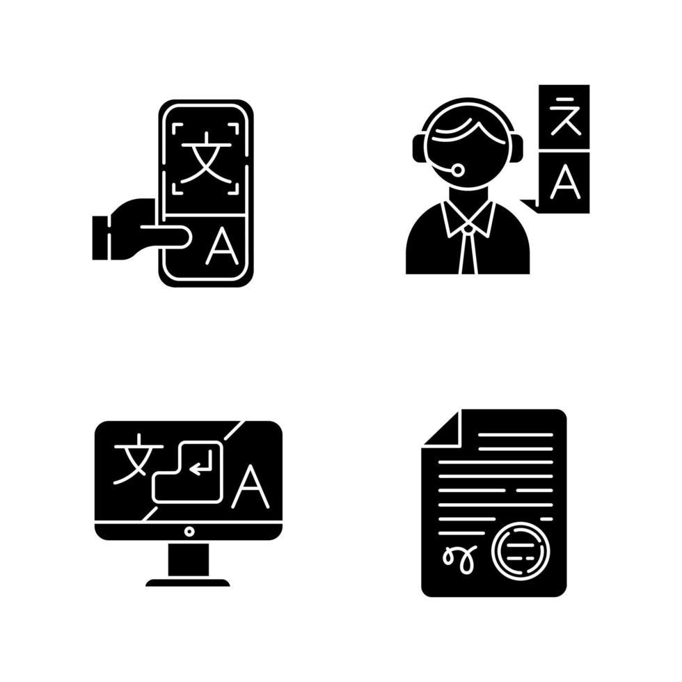 conjunto de ícones de glifo de tradução vetor