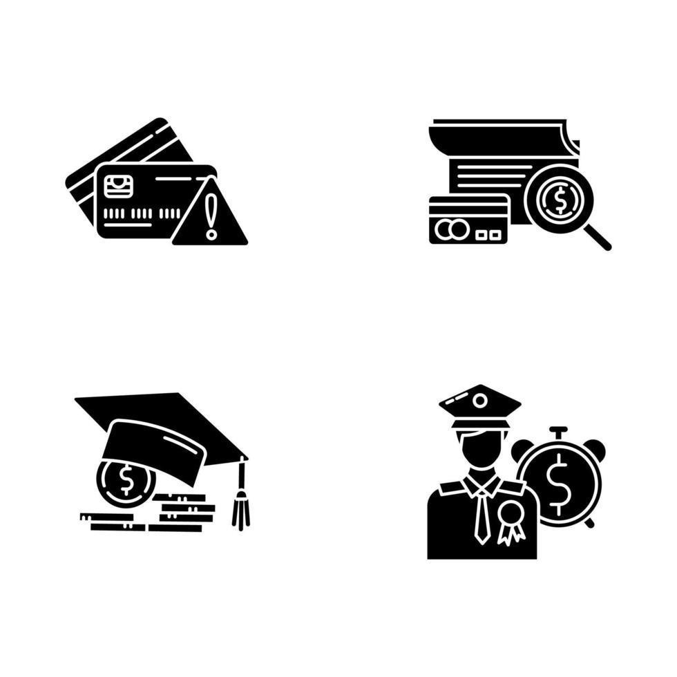 conjunto de ícones de glifo de crédito vetor