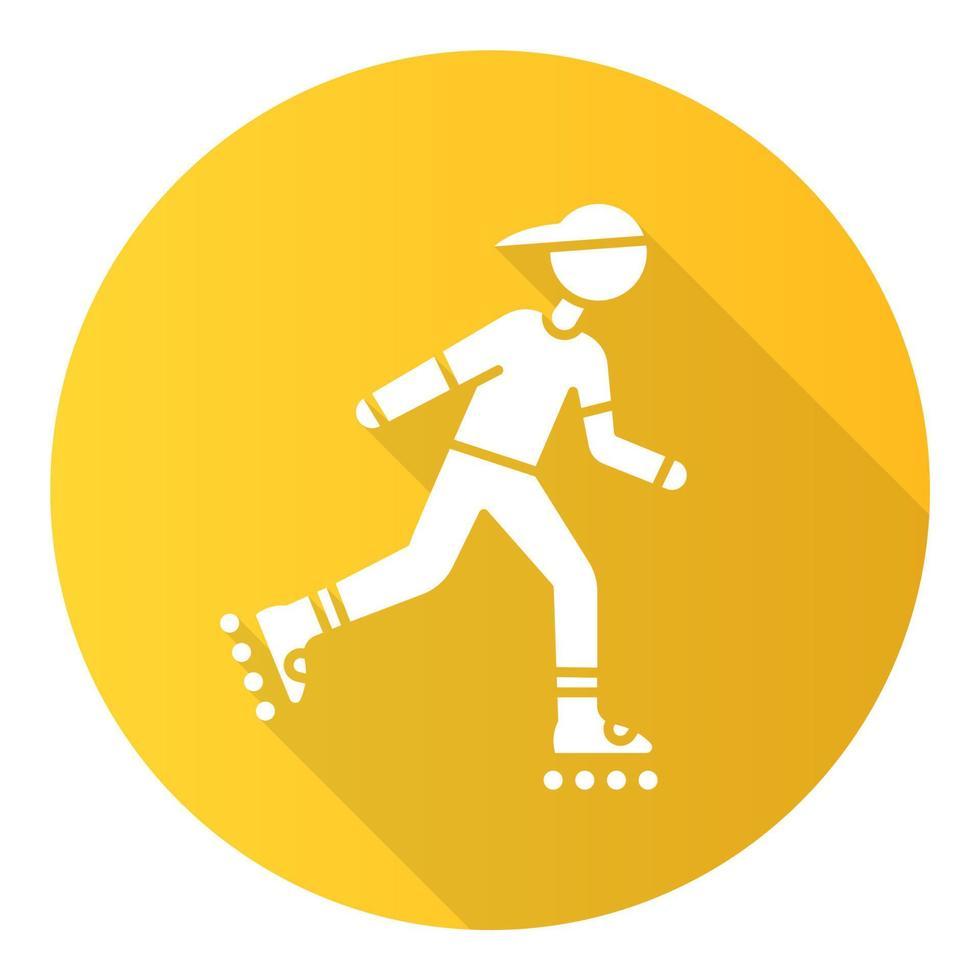 ícone de glifo de sombra longa de patins inline amarelo design plano vetor