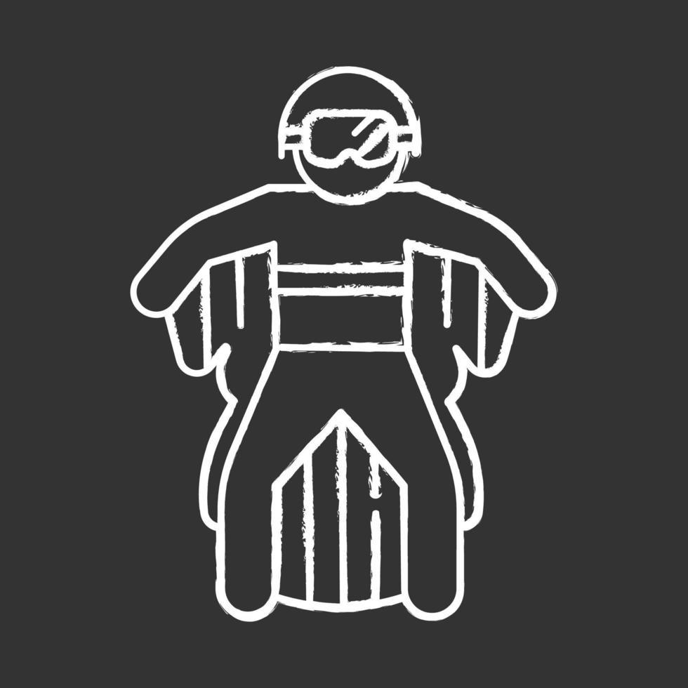 ícone de giz voador de wingsuit vetor