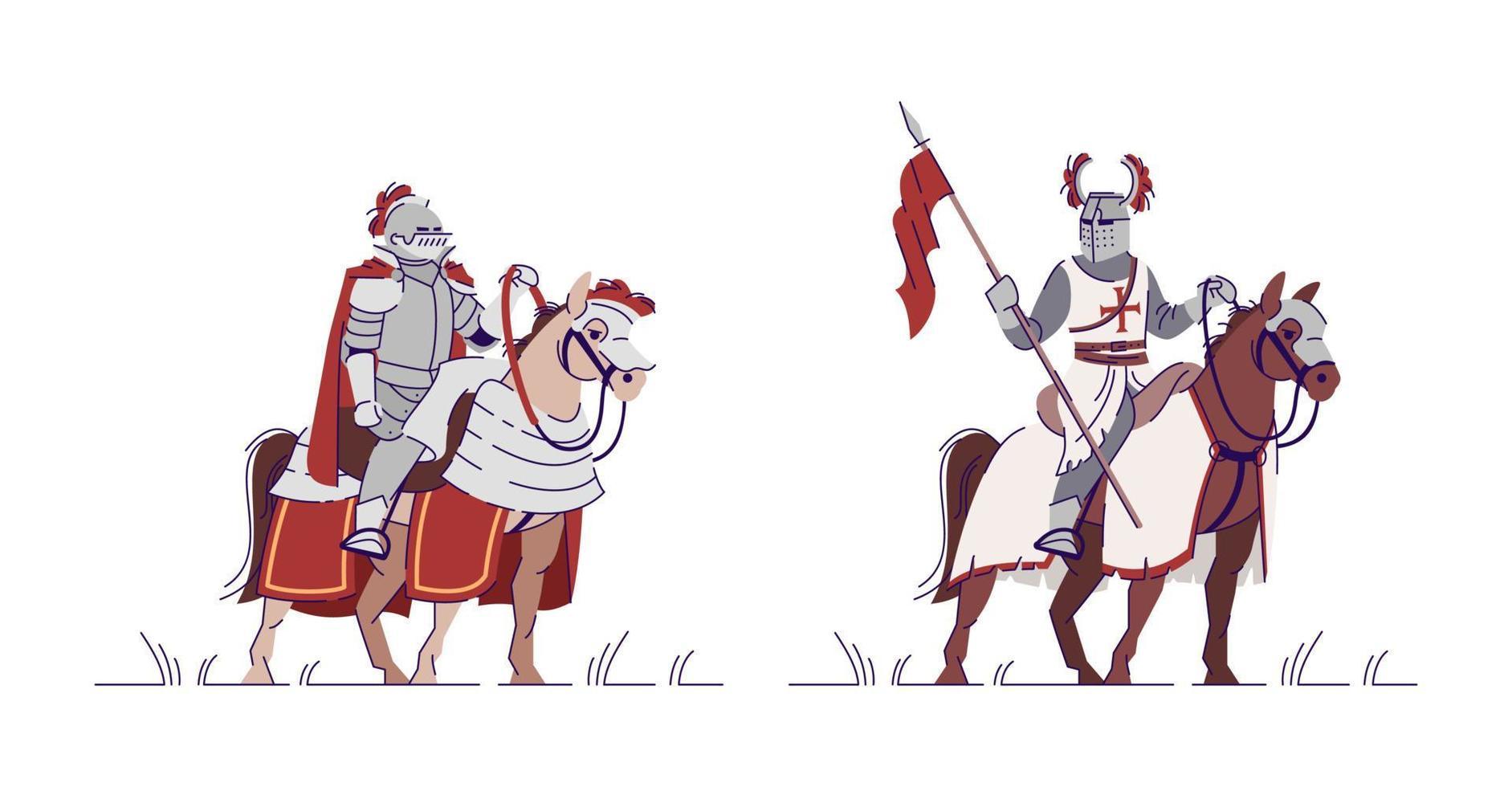 conjunto de ilustrações vetoriais planas de cavaleiros equestres vetor
