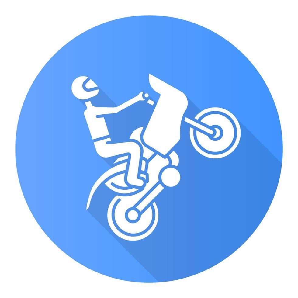 ícone de glifo de sombra longa design plano azul de motociclismo vetor