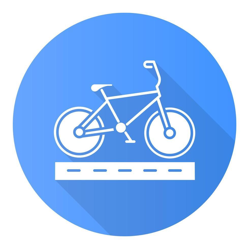 pista de ciclismo ícone de glifo de sombra longa design plano azul vetor