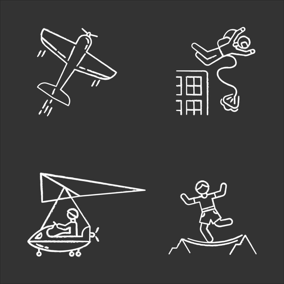 conjunto de ícones de giz para esportes radicais do ar vetor