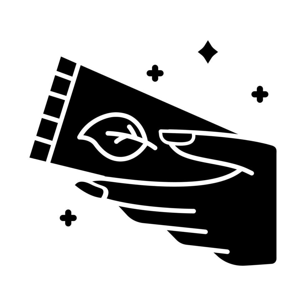 ícone de glifo de tubo de creme para as mãos vetor