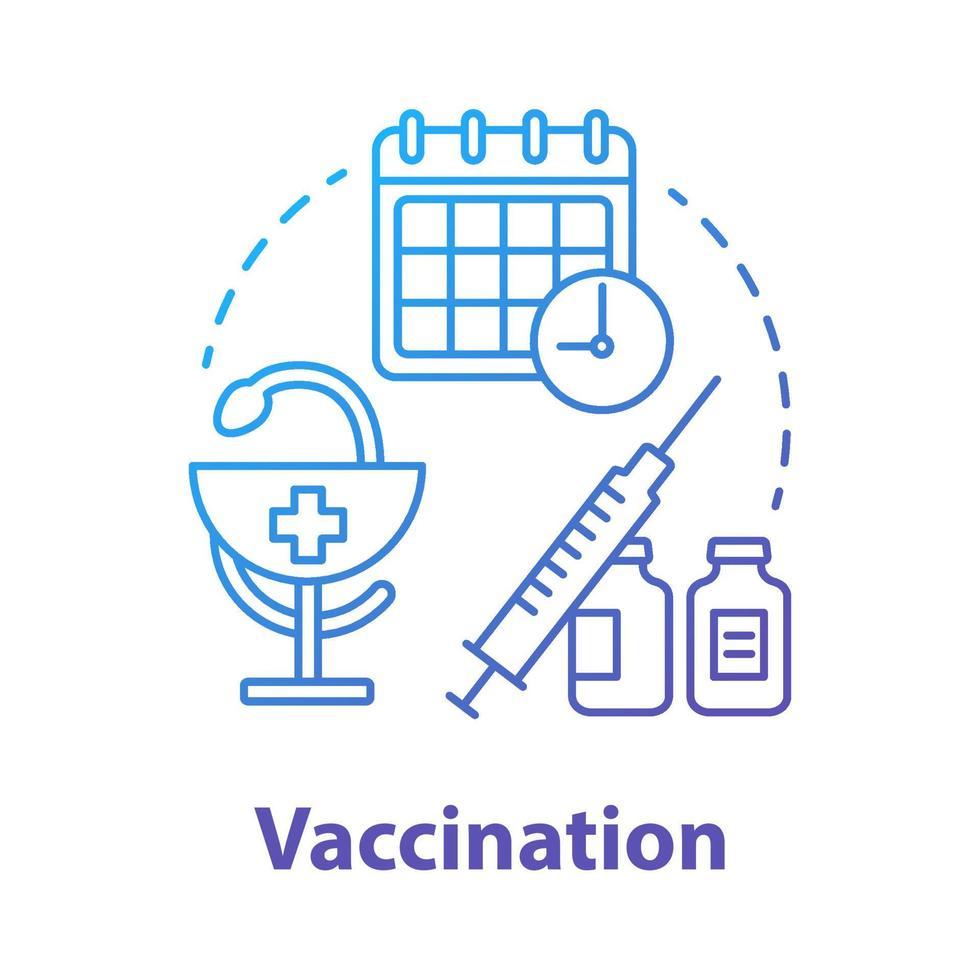 ícone do conceito azul de vacinação vetor