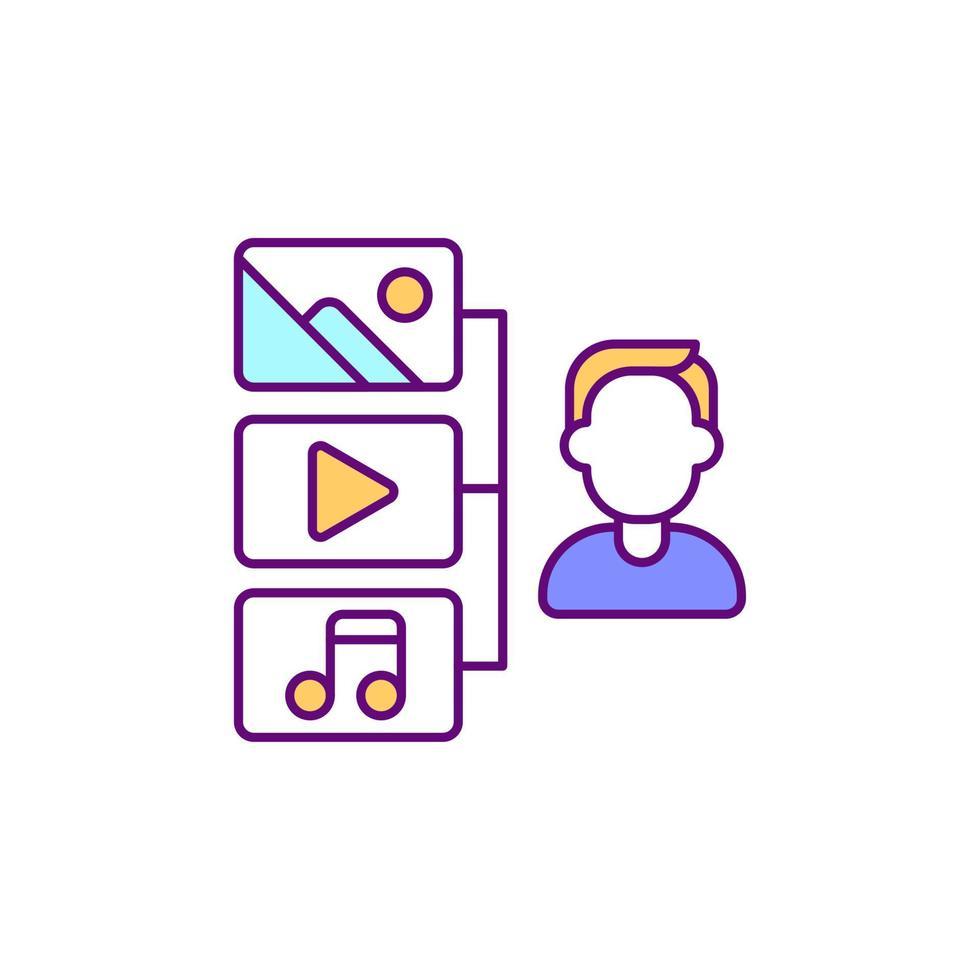 ícone de cor rgb de acesso à biblioteca de mídia vetor