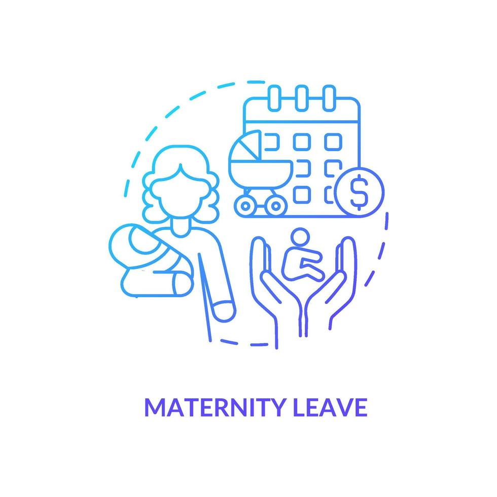 ícone gradiente azul de licença maternidade vetor