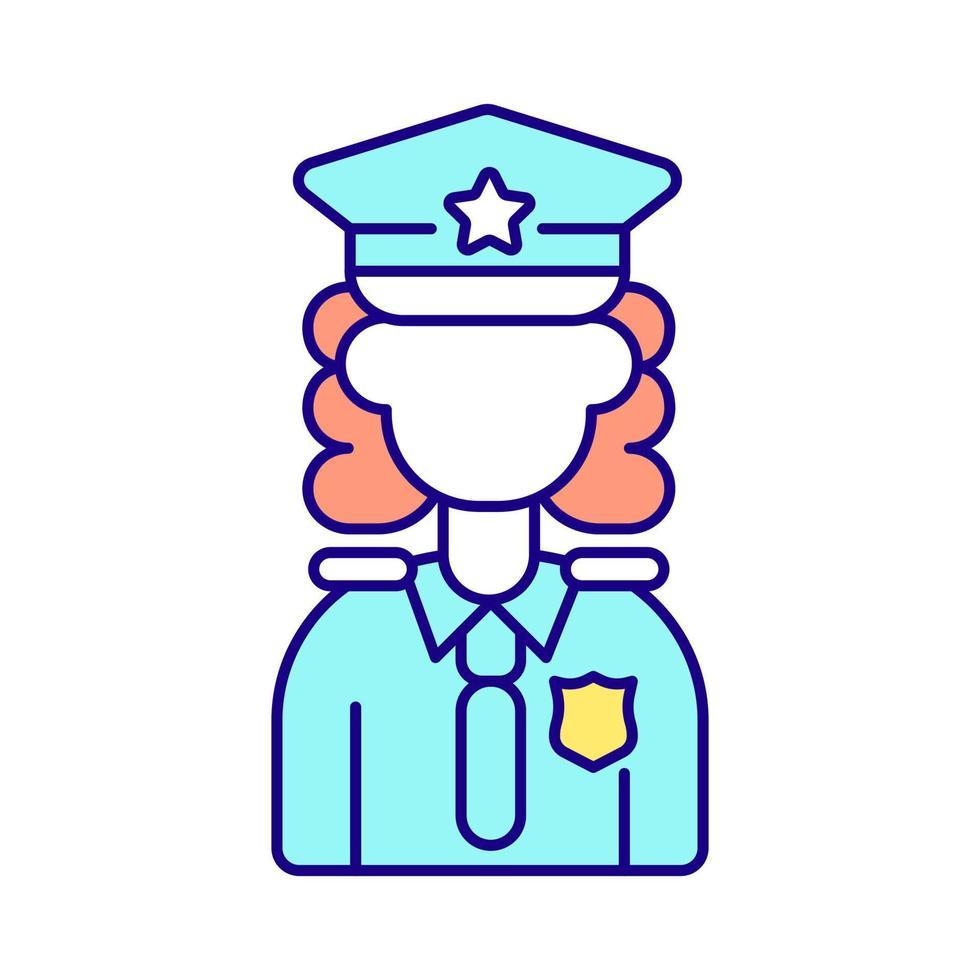 ícone de cor rgb policial feminino vetor