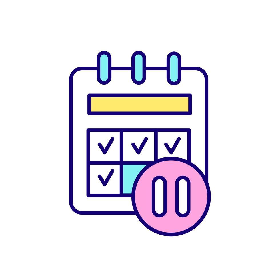 calendário e pausa assinar ícone de cor rgb vetor