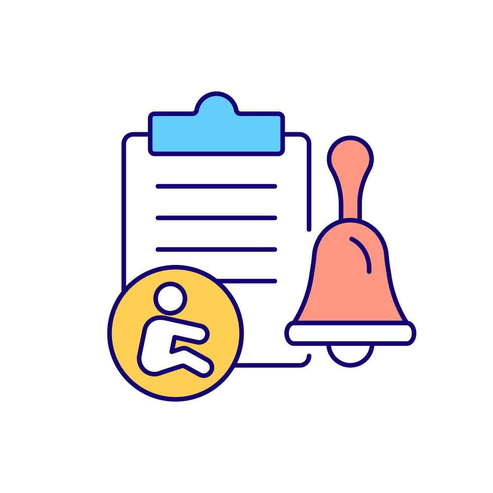 ícone de cor rgb de notificação escrita vetor