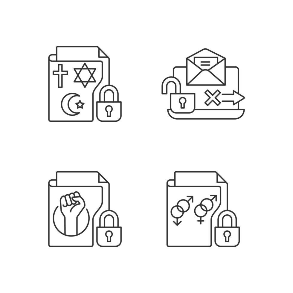 conjunto de ícones lineares de confidencialidade de dados vetor