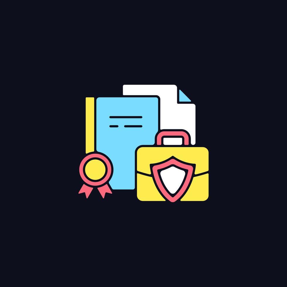 ícone de cor rgb de informações comerciais para tema escuro vetor
