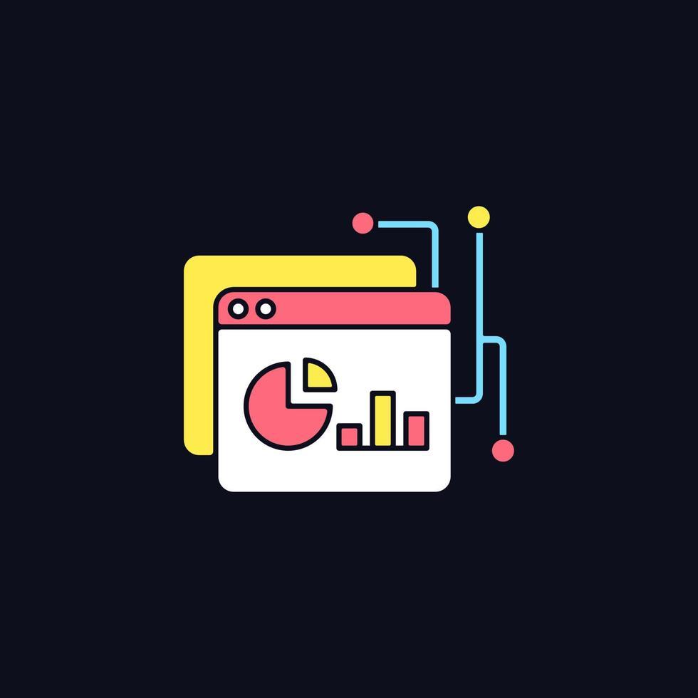 ícone de cor rgb da plataforma de inteligência de dados para tema escuro vetor