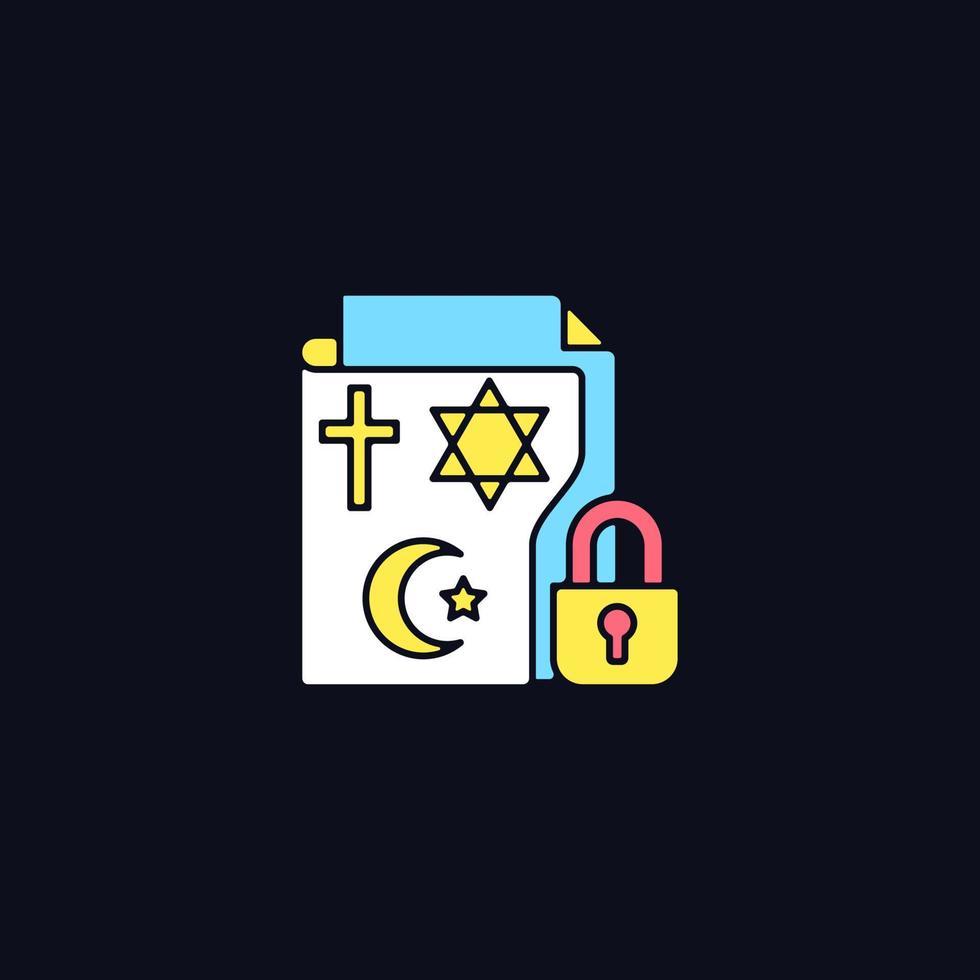 informações de crenças religiosas ícone de cor rgb para tema escuro vetor