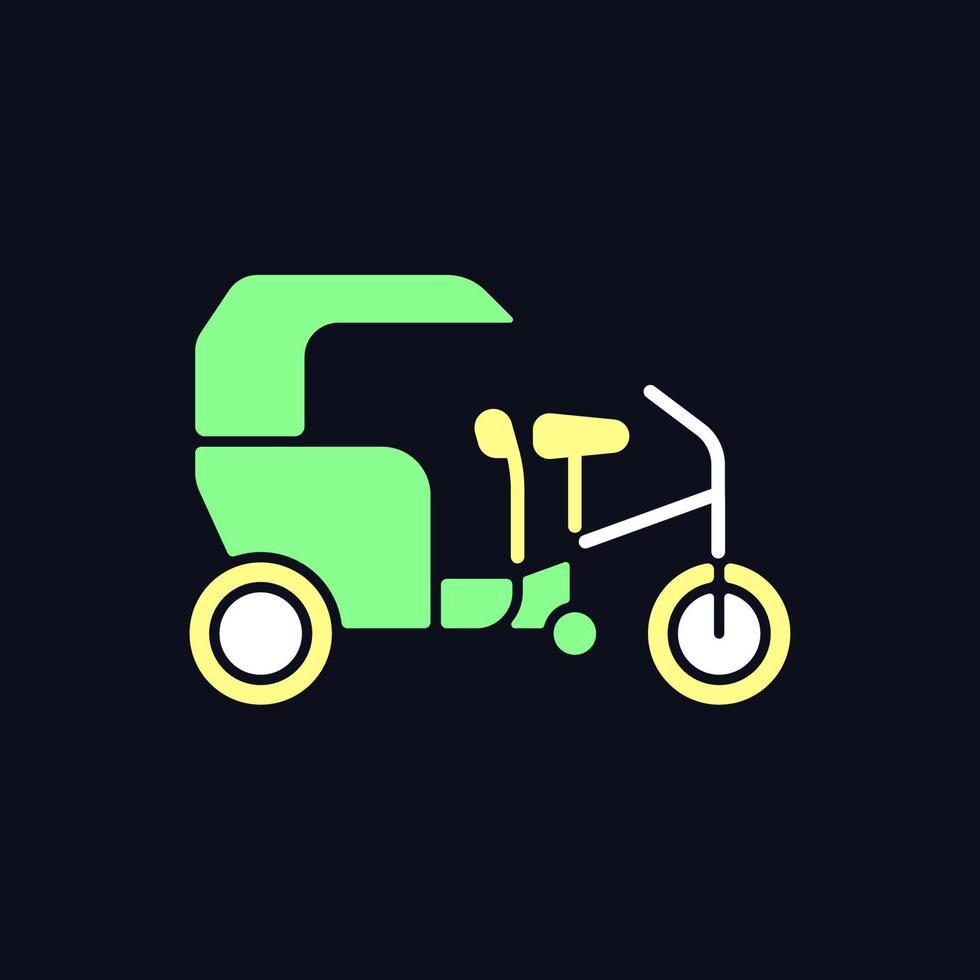 ícone de cor rgb de táxi de triciclo para tema escuro vetor