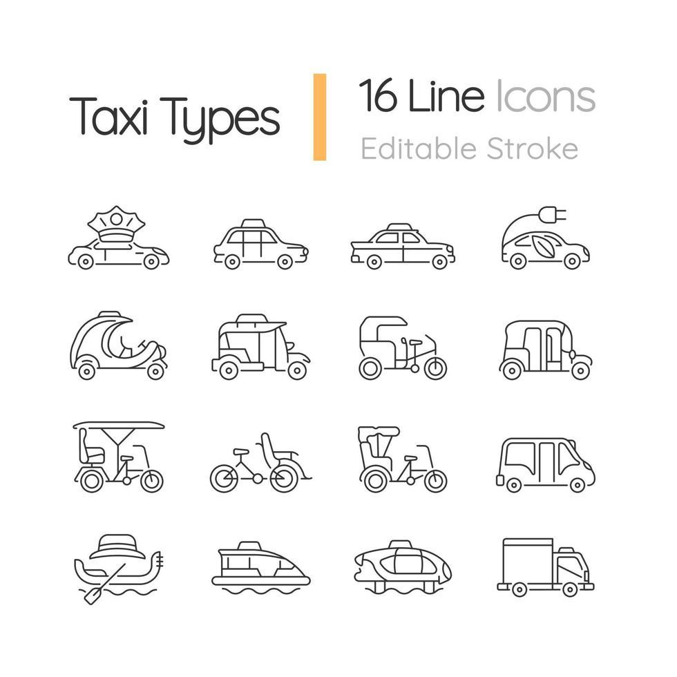conjunto de ícones lineares de tipos de táxi vetor