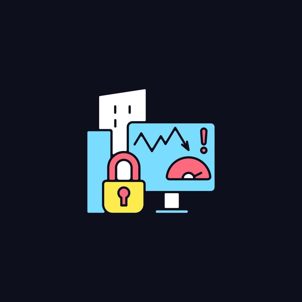 risco da empresa pontuação privacidade ícone de cor rgb para tema escuro vetor