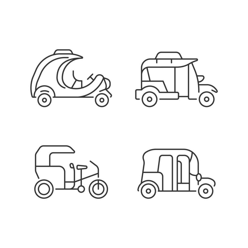 transporte de passageiros conjunto de ícones lineares de negócios vetor