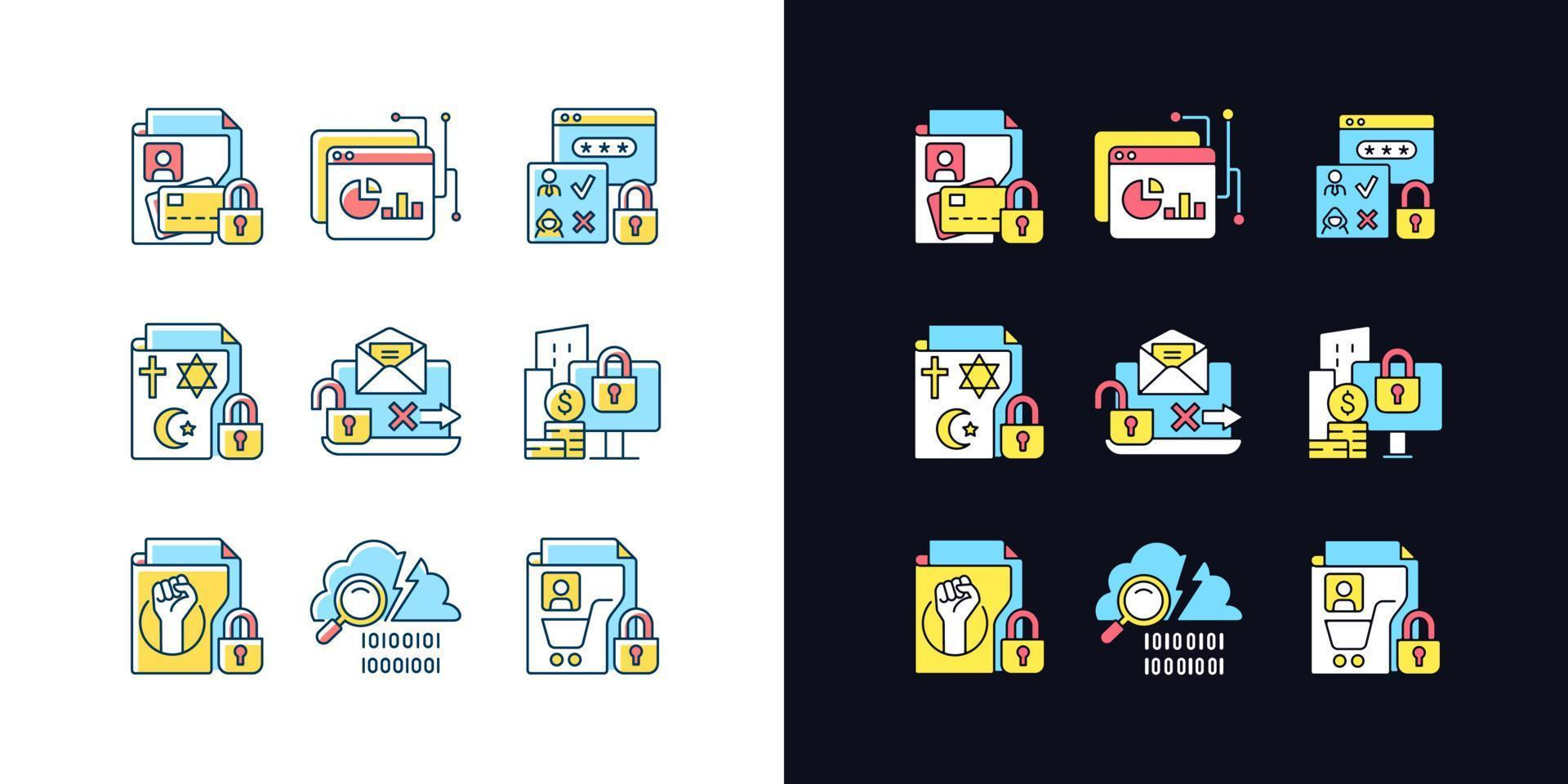 informações pessoais conjunto de ícones de cores rgb de tema claro e escuro vetor