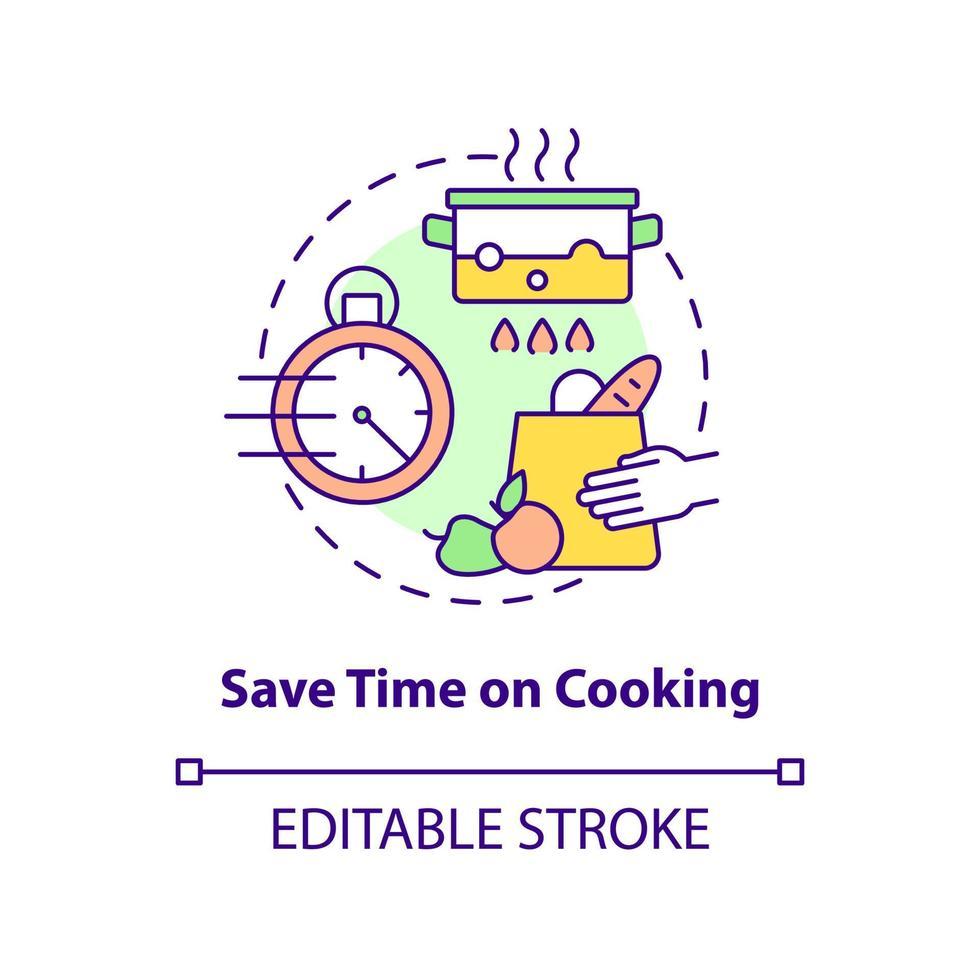 economize tempo no ícone do conceito de culinária vetor