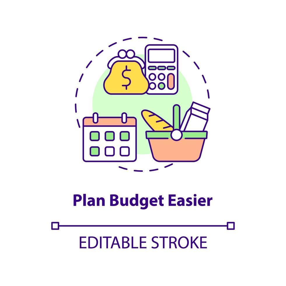 ícone de conceito de plano de orçamento mais fácil vetor