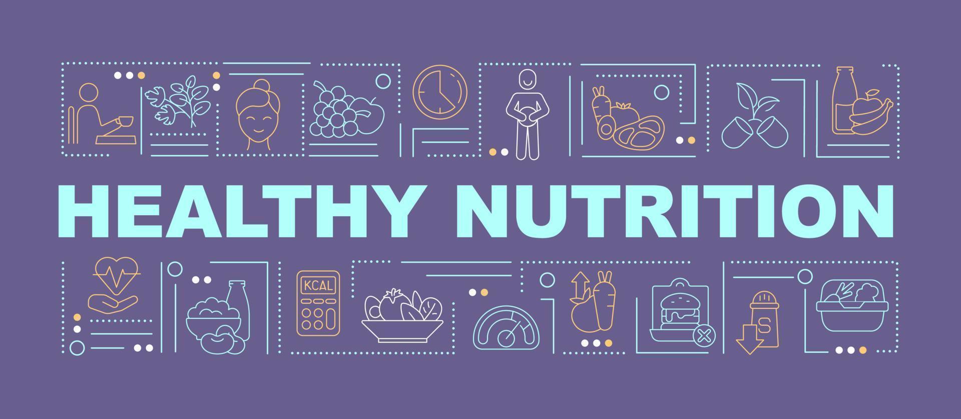 banner de conceitos de palavra roxa de nutrição saudável vetor